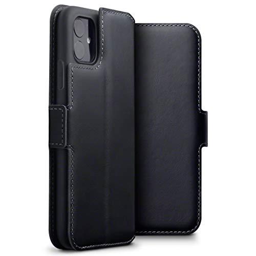 TERRAPIN, Kompatibel mit iPhone 11 Hülle, Premium ECHT Spaltleder Flip Handyhülle iPhone 11 Hülle Tasche Schutzhülle, Schwarz