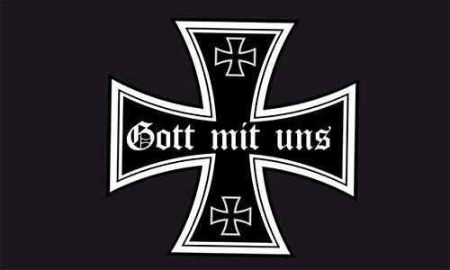 Generisch DR - Gott mit Uns Flagge Fahne 90x150 cm Eisernes Kreuz