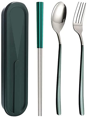 Chopsticks de acero inoxidable Set de cuchara Conjunto de tenedor Juego de tres piezas Estudiante Portátil Vajilla Caja de almacenamiento GIAOYAO (Color : A)