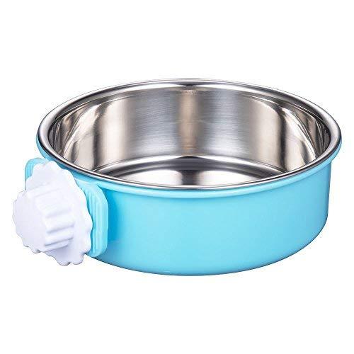 DeaLott Hundenapf für Hundekäfig, Abnehmbarer Edelstahlhaus, zum Aufhängen, großer Futternapf für Hunde, Katzen, Kaninchen, 16W×16L, blau