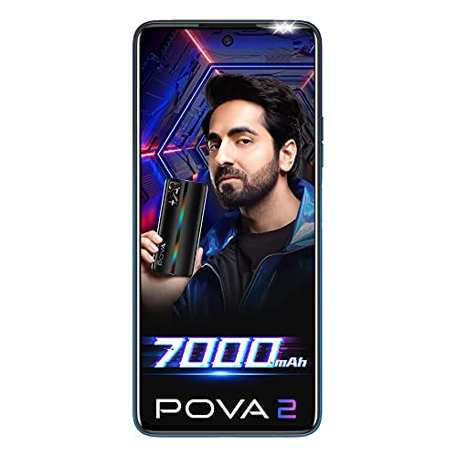 Tecno POVA 2 (Energy Blue, 4GB RAM, 64GB Storage)| 7000mAh Battery | 48MP Camera | Helio G85