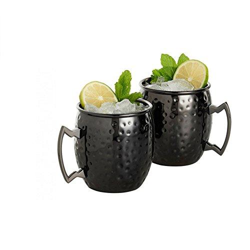 ZNYSTAR Martelé Cocktail Moscow Mules Tasses Acier Inoxydable (2 pcs de 530ML tasse noire)
