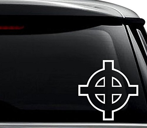 Celtic Cross Decal Sticker For Use On Laptop, Helmet, Car, Truck, Motorcycle, Windows, Bumper, Wall, and Decor Size- [6 inch] / [15 cm] Tall / Color- Matte Black