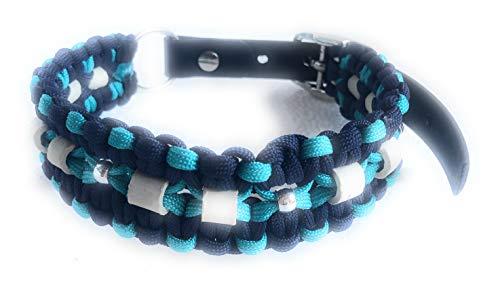 Viva Nature EM-Keramik Zeckenhalsband Zecken-Schutz-Halsband/verstellbar Paracord (35-45 cm, Blau Türkis)