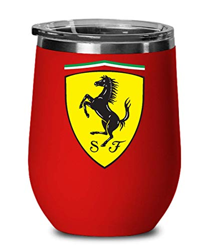 Vaso de vino Scuderia Ferrari | Vaso de Fórmula 1 | Vaso de caballo prancing de 350 ml