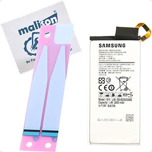 Batería para Samsung Galaxy S6 Edge | SM-G925F | EB-BG925ABE | Batería de repuesto | Incluye paño de limpieza de pantalla | Batería con tiras adhesivas