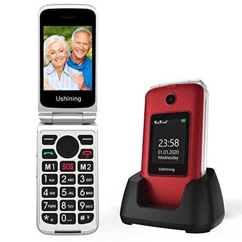 Ushining Teléfono Móvil para Personas Mayores, Teléfono Móvil con Teclas Grandes Fácil de Usar Teléfono Celular con Base de Carga Botón de Emergencia SOS Doble SIM Radio FM Cámara Linterna - Rojo