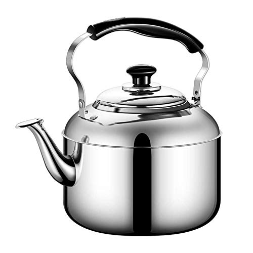 JJSFJH Tetera silbante, Tetera de Acero Inoxidable de Grado alimenticio con Mango ergonómico Resistente al Calor, Utilizado para la Leche de café del té (Color: Plata, tamaño: 5L)