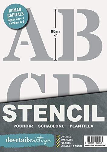 Plantillas Letras Stencil - Plantillas del Alfabeto – 10 cm de altura – Alphabet y Números 0-9, Mayúsculas Roman – en 9 hojas de 295 x 200mm