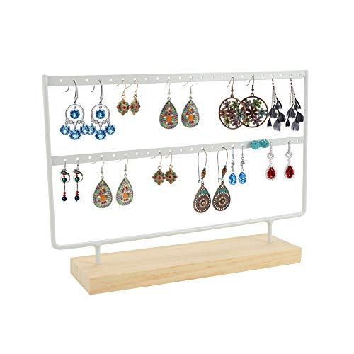 SUSSURRO Jewelry Stand Holder, Jewelry Organiser for Hanging Earrings, Earring Holder Jewelry Display Wood Stand, Tabletop Jewelry Display Rack for Women Girls Gift Earring Holders(White)