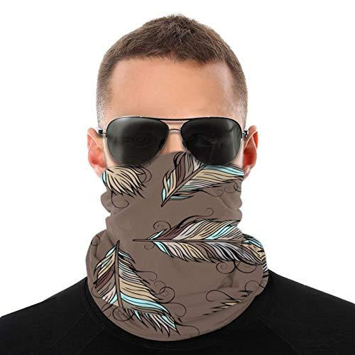 Plumas de vectores étnicos vintage Bufandas cálidas unisex Pañuelos para la cabeza Sombreros multifuncionales para toallas faciales elásticas Bufandas lavables 20x10 pulgadas