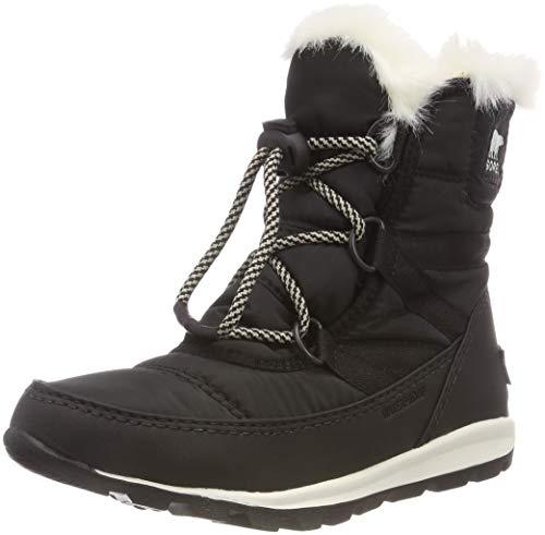 Sorel Girls' Youth Whitney Short Lace Snow Boot, black, sea salt, 3 M US Big Kid