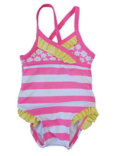 Infant Girls 1 Piece Swimming Suit Pink & White Stripe Daisy Swimwear 6m
