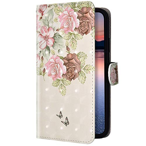 Uposao Kompatibel mit Huawei P40 Lite Handyhülle Glitzer Kristall Bling Glänzend Schutzhülle Flip Case Brieftasche Klapphülle Leder Hülle Magnet Kartenfach,Schmetterling Blumen