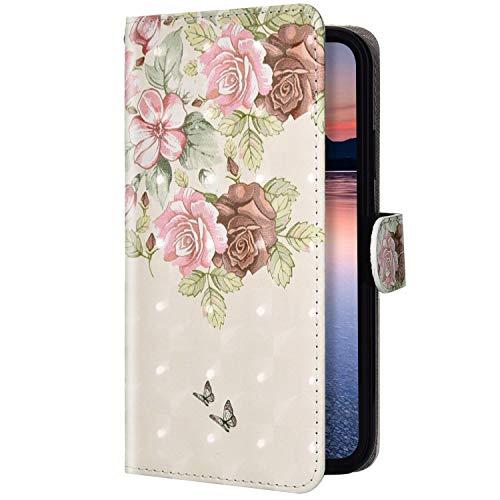 Uposao Kompatibel mit Samsung Galaxy A71 Handyhülle Glitzer Kristall Bling Glänzend Schutzhülle Flip Case Brieftasche Klapphülle Leder Hülle Magnet Kartenfach,Schmetterling Blumen