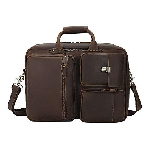 Vints Leather Convertible Backpack, 15.6 Inch Laptop Briefcase, Shoulder Bag, Travel Daypack for Men, Messenger Handbag, Laptop Briefcase