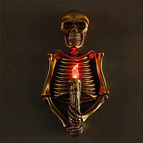Abilieauty Terror Skull LED lámpara de mesa pared cráneo llama rojo noche luz para habitación secreta bar dormitorio hogar decoración estatuillas arte pared adornos