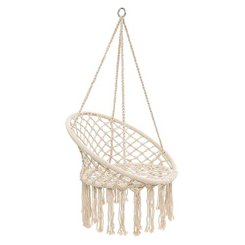 N/B Round Hammock Chair Outdoor Indoor Dormitory Bedroom Yard for Child Adult Swinging Hanging Single Safety Chair Hammock White