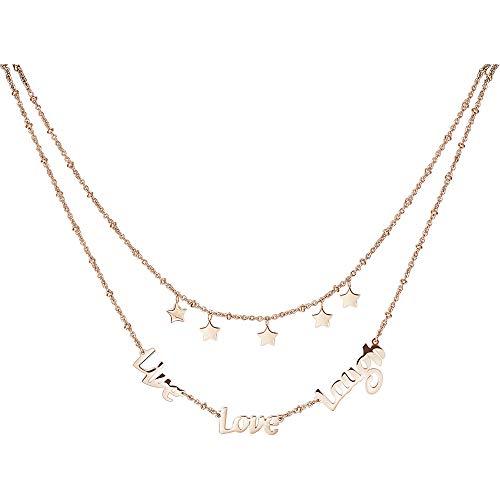 """Collana a due fili in acciaio 316L e pvd oro rosa con stelline e scritta """"Live Love Laugh"""". brp02"""
