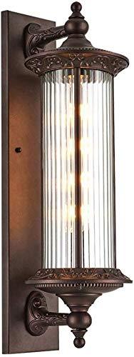Außenlampe Vintage Braun Wasserdicht IP54 Außen-Wandleuchte E27 Aluminium/Glas Zylindrisch Garten Patio Zaun Hof Garage Tor Flur Treppe Einfahrt Landhaus Wandbeleuchtung 22 * 18 * 60 Cm