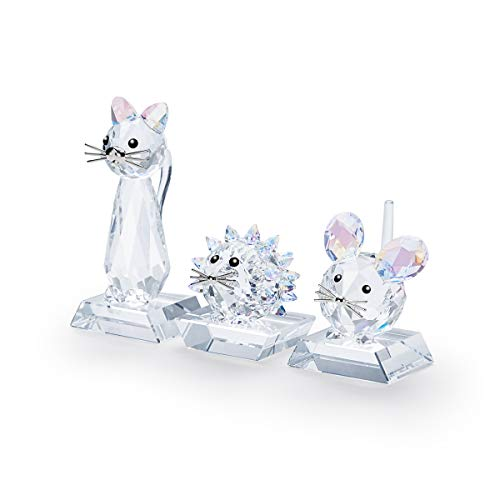 Swarovski 125th Anniversary Replica Set, Collectable Figurines in Shimmering White Crystal for Pet Lovers; Crystal Cat, Hedgehog, and Mouse