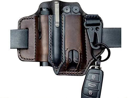 Multitool Sheath for Belt Leather EDC Pocket Organizer for Men Leatherman Sheath with Pen Holder Key Fob Flashlight Sheath EDC Leather Pouch brown