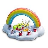 DRAKE18 Regenbogen Getränkehalter Aufblasbare Poolbecherhalter Schwimmende Boote Pool schwimmt aufblasbare schwimmende Untersetzer für Poolparty Wasserspaß