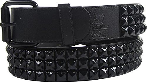 "Punk Rock Classic Pyramid Studded Leather Belt by BodyPunks (Large (Waist Size: 33""-37""), Black 3 Row"