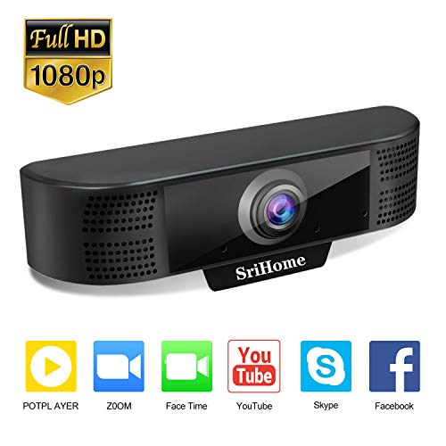 Webcam with Microphone, 1080P Full HD Web Camera, USB Plug and Play Computer Webcam for PC, Laptop, Live Streaming, YouTube, Gaming, Video Calling and Conferencing