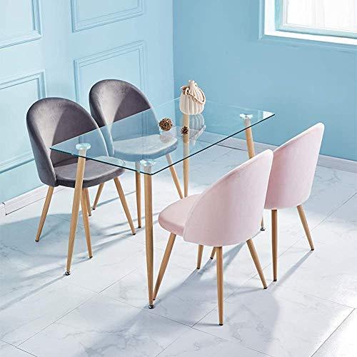 Mesa de cristal y traje de terciopelo suave. Mesa de comedor de cocina rectangular,Pink