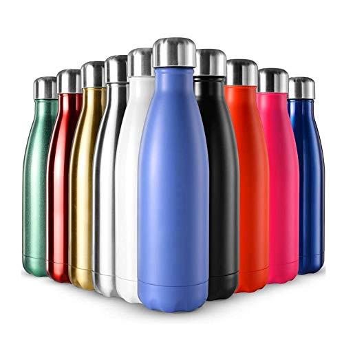 Vommpe - Botella de agua de acero inoxidable de 500 ml, botella isotérmica para camping, viajes, color rosa, dorado