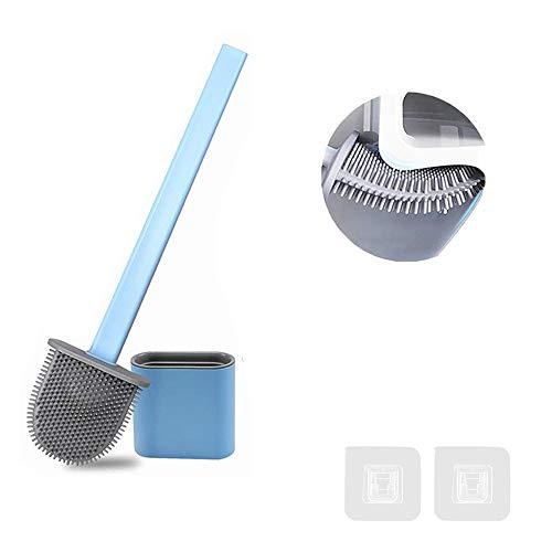 FAFAFA Escobilla WC,Cepillo y Soporte para Inodoro de Silicona,Escobillas de Baño,Escobilla WC Silicona,Cepillo para Inodoro (Azul)