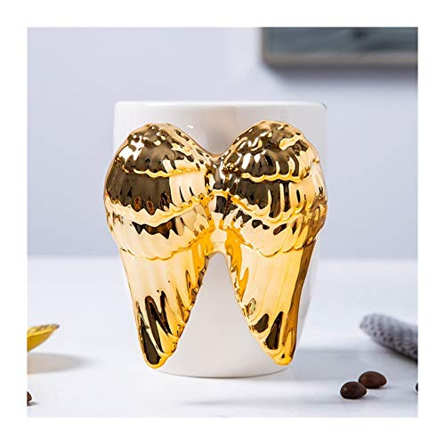 tazas para niños Ángel Divertido taza de café for las mujeres Tazas de la porcelana de la leche Tazas de cerámica blanca Taza de café con la cuchara de metal como cumpleaños, graduación, Navidad Ángel