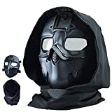 Guayma Airsoft Mask Balaclava Face Mask Military Outdoor Sport CS Tactical Wild Mask Protective Paintball Eye Protection Headgear Mask Adjustable Cosplay Costume Movie Shooting