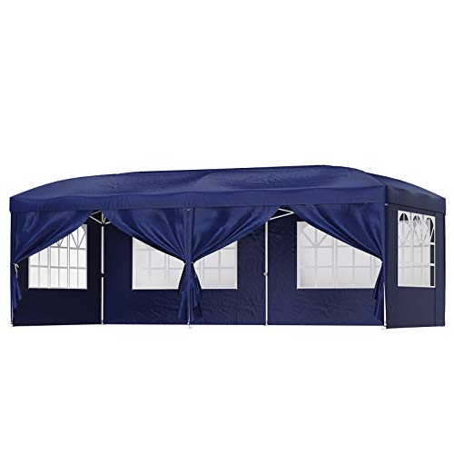 SONGMICS Pavillon, 3 x 6 m Gartenpavillon, Anti-UV, Pop-up, Gartenzelt, Faltpavillon, wasserfest, abnehmbare Seitenwände, Türen mit Reißverschluss, mit Tasche, Outdoor, Hochzeit, blau GCT24IN