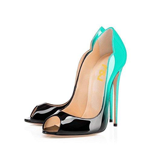 [FSJ] レディースセクシーなピープトウハイヒールパンプスセクシーStiletto特許レザー靴のパーティー4–15US カラー: ブラック