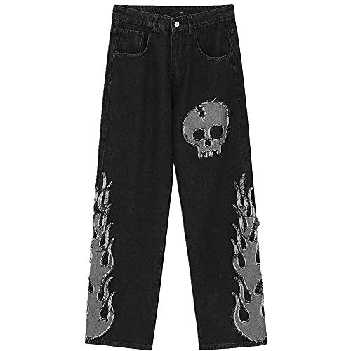 NP Hombres Pantalones de Pierna Recta Hop Hop Skull Patch Pantalones Bordados
