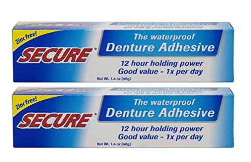 Secure Waterproof Denture Adhesive - Zinc Free - Extra Strong Hold For Upper, Lower or Partials - 1.4 oz (Pack of 2)