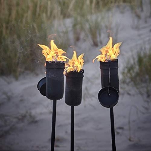 Krause & Sohn Ölfackel schwarz Fackel aus Metall hochwertige Stabfackel Gartenfackel (2 Stück)
