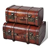 Baúl del tesoro de madera, caja de almacenamiento decorativa con cerradura, decoración vintage, hecha a mano con llave de candado, 2 unidades, color marrón