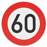 ORIGINAL Verkehrzeichen 60 KM/H Schild Nr. 274-56 Verkehrsschild Straßenschild Straßenzeichen Metall auch Gebutrtstagschild zum 60. Geburtstag als 60km Geburtstagsschild 42 cm Metall mit Folie-Typ1
