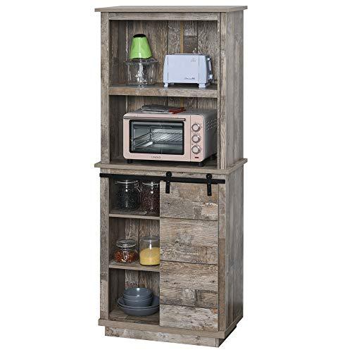 HOMCOM Rustic Storage Cabinet Home Tall Organizer with Barn Door, Adjustable Shelf Freestanding Furniture, Vintage Wood Color