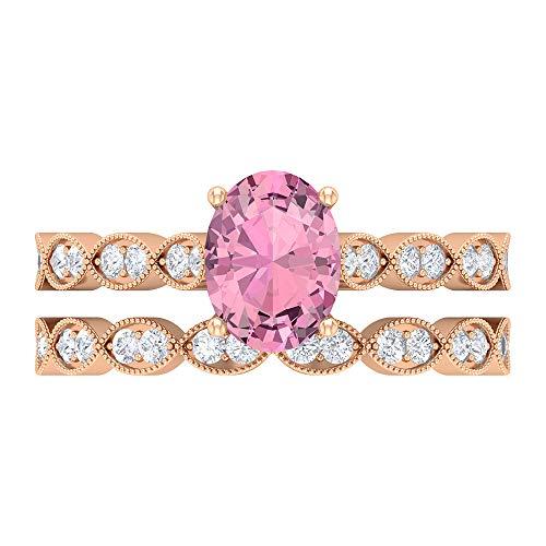 Rosec Jewels 14 quilates oro rosa ovalada round-brilliant-shape H-I Pink Diamond Tourmaline