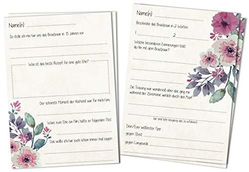 Gästebuchseiten Gästekarten DINA6 - Schöne Fragekarten 2 Motive zum Ausfüllen und Einkleben ins...