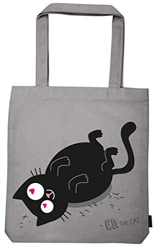 moses. Ed, The Cat Shopper Fell in Love | Tragetasche aus 100% Baumwolle | Einkaufstasche Umhängetasche, 42 cm, Grau