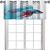 YUAZHOQI Cenefa de cocina para acuario Siamés Lucha Betta Fish Natación en acuario A 50 pulgadas de ancho x 18 pulgadas de largo Cortinas Valence para ventanas (1 panel)