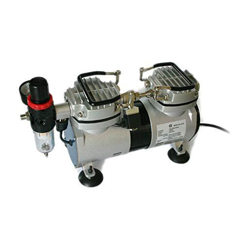 Compresor AS19 para aerografía potente y silencioso con dos cilindros y separador de agua