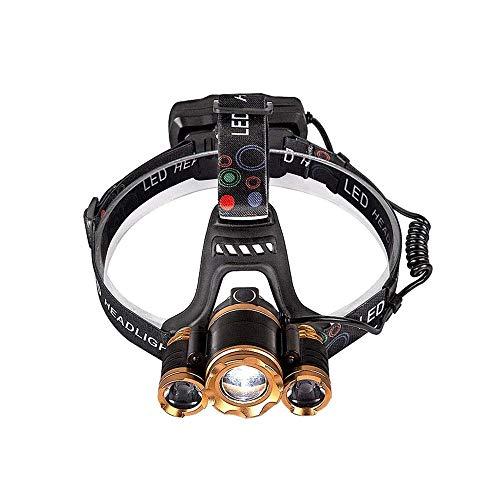 Heigmz qxd - Luces de bicicleta, linterna de cabeza LED recargable USB con linterna giratoria de 90° y zoomable, linterna súper brillante para niños y adultos, correr, pesca, camping, senderismo