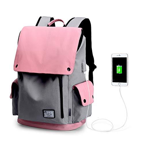 WindTook USB Anschluss Laptop Rucksack Damen Herren Daypack Schulrucksack für 15,6 Zoll Notebook, Wasserabweisend, 20L, 30 x 17 x 45cm, Rosa