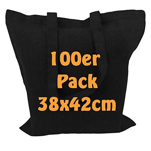 Cottonbagjoe Recyclingtasche aus recycelter Baumwolle Öko - Einkaufstasche robust mit dickem Stoff und Langen Henkeln (Schwarz, 100 Stück)